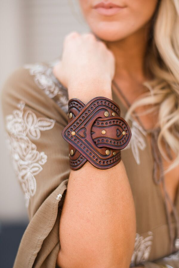 Overlap tooled vegan dyed leather bracelet cuff by Karen Kell with antiqued brass grommets and accent stamped heart & flowers. Handcrafted heirloom quality bracelet. - Genuine vegetable dyed leather
