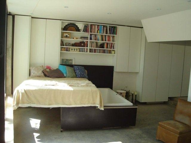 Strange bedroom bed bath shelves