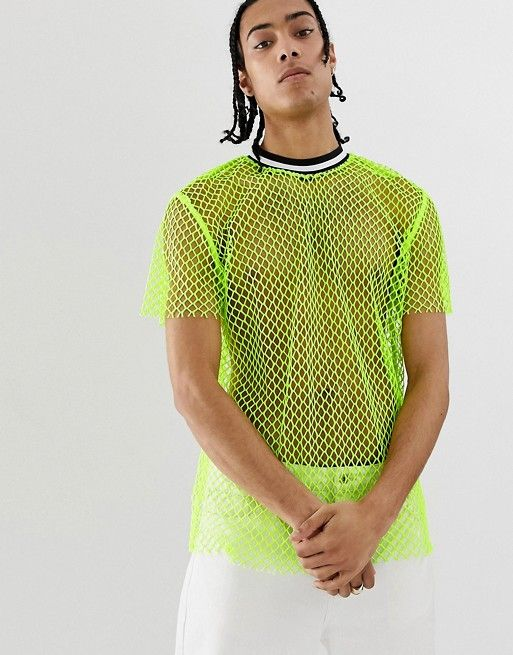 f62c22d55a DESIGN Festival relaxed t-shirt in neon open mesh with tipping in ...