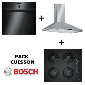 BOSCH - Pack cuisson : Four multifonction pyrolyse + Table de cuisson Gaz + Hotte