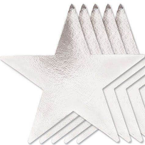 Silver Star Cutouts 15in 5ct - Table, Wall, Window - Hollywood Theme Party - Theme Parties - Categories - Party City