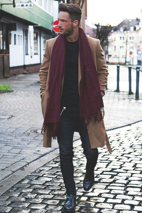 Just the fact that the scarf is a different color against the coat on top of all black, makes for a nice accent/personal choice
