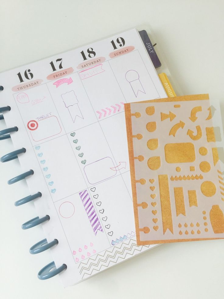 "This <a href=""https://www.etsy.com/listing/270274977/mambi-happy-planner-transparent?ref=related-0"" target=""_blank"">planner stencil</a> ($10) is an easy way to make consistent layouts."