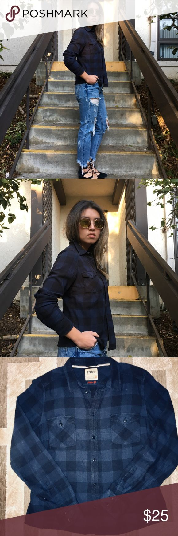 Aritizia TNA Navy and Black Flannel Check shirt M Super cute flannel in black and navy buffalo check. Brand is TNA which is carried at Aritizia. Gently worn TNA Tops Button Down Shirts