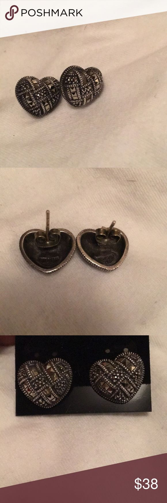 Judith Jack Earrings Absolutely stunning heart shaped marcasite stud earring. One word- classy. All my earrings are cleaned with new backs. Judith Jack Jewelry Earrings