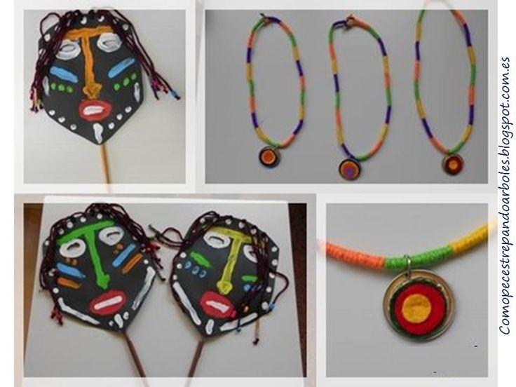 Máscaras africanas y collares étnicos, #manualidades #proyectosescolares