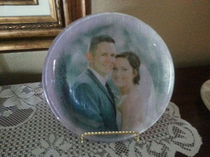 Clear glass plate+tissue paper with picture printed on it ...