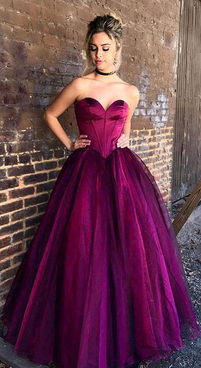 Stylish Prom Dresses,Sweetheart Prom Gown,Purple Prom Dresses,Tulle Prom Dress,Long Prom Dress,Formal Evening Dresses,Ball Gown Prom Dresses