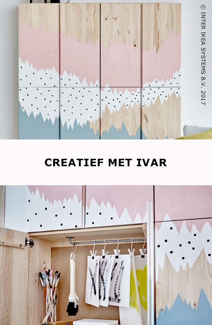 Ben jij een ware doe-het-zelver? Ga dan aan de slag met de IVAR kasten! Creëer een artistieke blikbanger voor al je kwasten en werkjes en geef je interieur een originele toets. IVAR Kast, 59,90/st. #IKEABE #IKEAidee  Are you a DIY'er? Get to work with the IVAR cabinets! Create an artsy eye-catcher for all your artwork and paintbrushes and give your interior an original touch. IVAR Cabinet, 59,90/pce. #IKEABE #IKEAidea