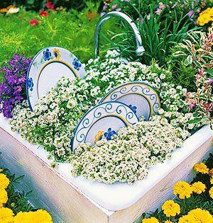 Old sink, faucet, dishes and plants! Love!! I don't know the source for this...got it off of Susie Homefaker on Facebook.