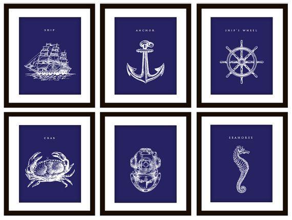 Nautical Nursery? 6 Nautical Navy Blue Art Prints ANY color by PrintsofBeauty, $25.00