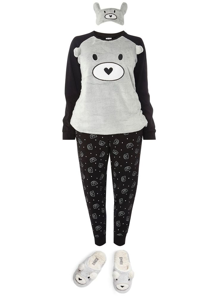 Black Bear Pyjama And Eye Mask Set