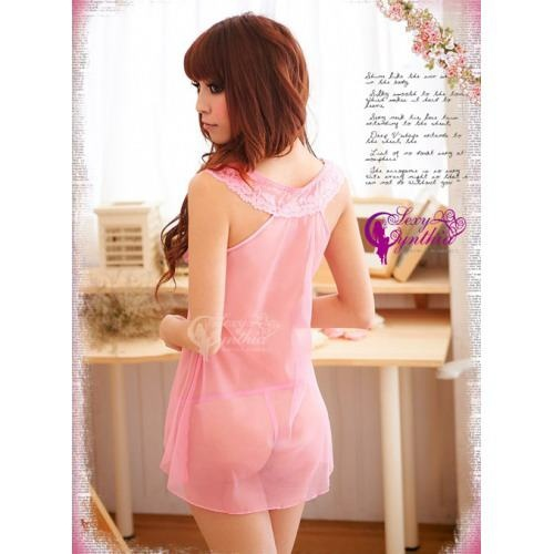 A222 Pink  - 2pc : dress, gstring  Free Size LD 70-86cm, Hips 70-90cm, Bra 32-34    IDR 87.000