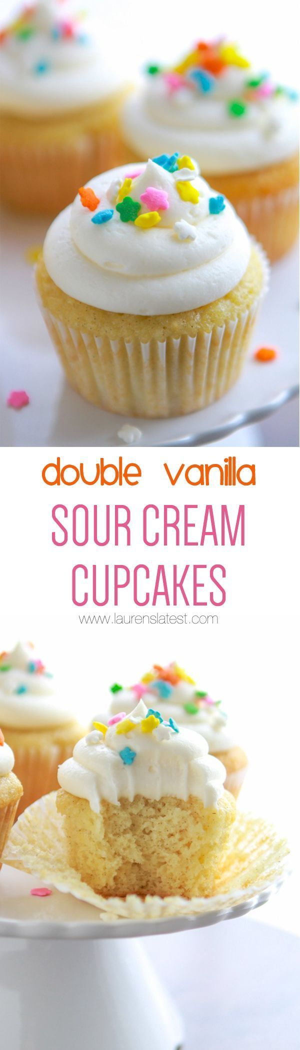 Double Vanilla Sour Cream Cupcakes... Soft and moist vanilla bean cupcakes with extra creamy vanilla frosting! These are for all you vanilla lovers out there! The best cupcakes everrrrr.