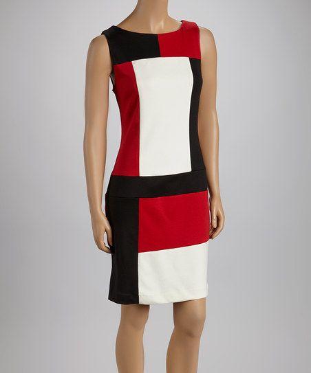 Black & Red Color Block Sleeveless Dress