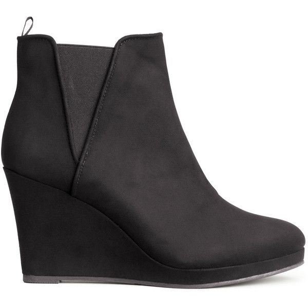 H&M Wedge-heel boots (57 BRL) ❤ liked on Polyvore featuring shoes, boots, ankle boots, black, wedge ankle boots, black bootie boots, black wedge boots, wedge boots and platform ankle boots