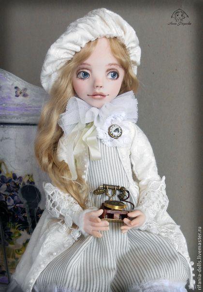 Полли - белый,девочка,оригинальный подарок,белоснежка,ручная работа,коллекционная кукла