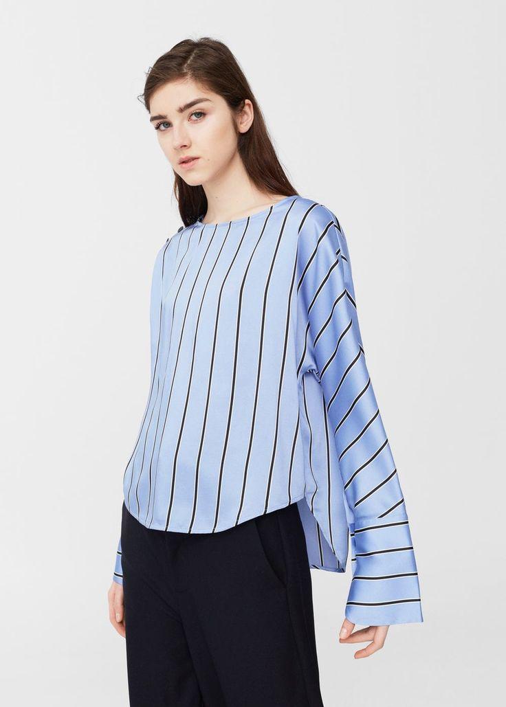 Ριχτό πουκάμισο ριγέ -  Γυναίκα | MANGO ΜΑΝΓΚΟ Ελλάδα