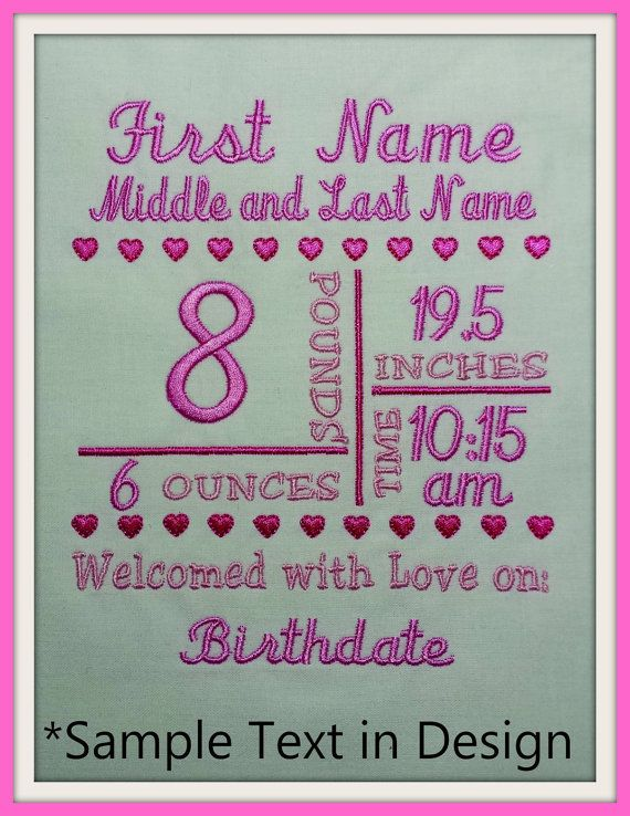 Have you been seeing those cute Baby Announcement designs everywhere? Not sure how to create one? Here is our basic template. All you have to do is add the babys information using a font on your embroidery machine or software.  Create pillows, framed embroidery, add it to a tote bag or baby blanket, etc.  * The 1st picture (in pink) gives you an idea of what yours might look like after you add all the babys information  ** The 2nd picture (in blue) is the actual embroidery design you will…