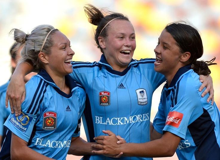 Kyah Simon, Caitlin Foord and Sam Kerr celebrate SydneyFC's win over Brisbane Roar 3-2 to advance to the W-League 2012/2013 Grand Final. Now that's happy!  https://sphotos-b.xx.fbcdn.net/hphotos-snc6/250295_520189971355064_597149850_n.jpg