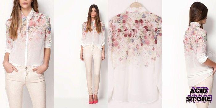 Camisa floral transparente XS - S - M 56.000