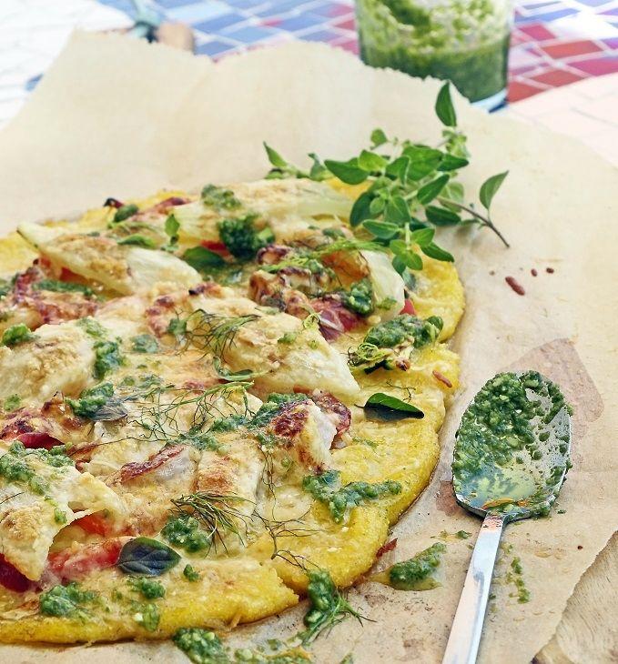 Polenta mit Gemüse überbacken und Basilikum-Püree