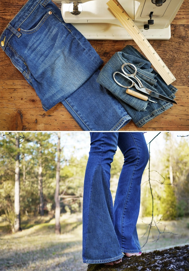 DIY Bell Bottoms | Bell bottoms, Le'veon bell and Skinny jeans