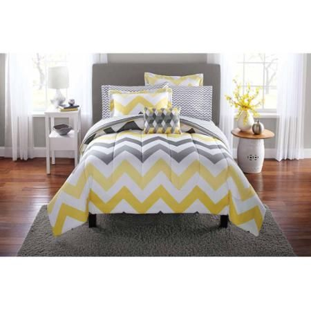 Mainstays Yellow Grey Chevron Bed In A Bag Bedding Comforter Set
