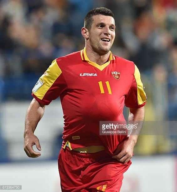 Fatos Beciraj of Montenegro celebrates after scoring goal 40 during the FIFA 2018 World Cup Qualifier between Montenegro and Kazakhstan at Podgorica...