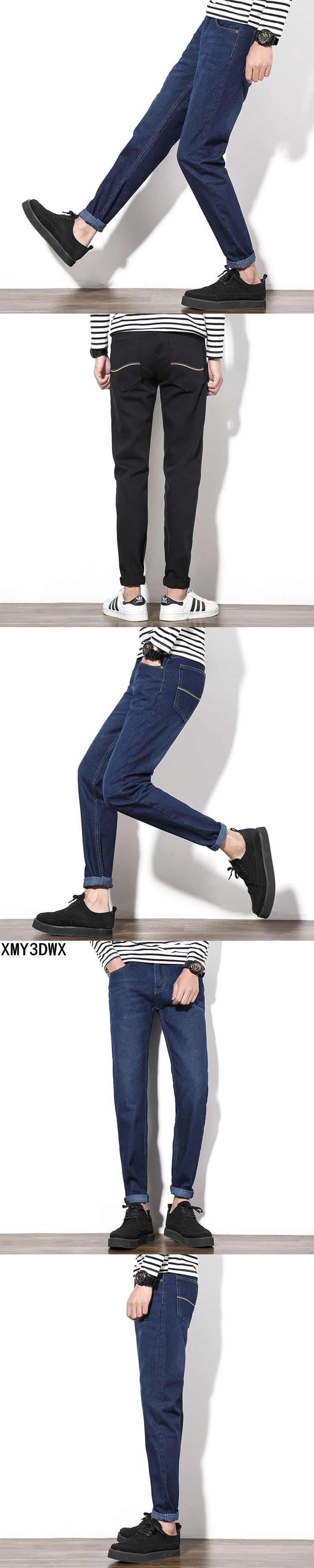2017 New design mid waist jogger jeans masculino mens pants Washed Slim fit male Cotton Straight Long denim homme Trousers