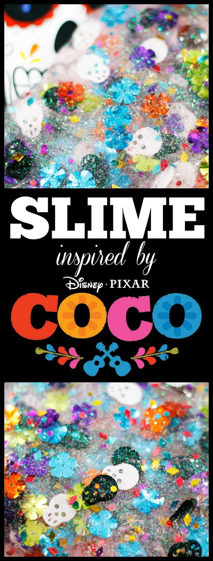 Celebrate Disney Pixar's Coco with this fun slime recipe! It's easy to make and a fun way to prepare for this upcoming film. Learn about Dia de Muertos and how you can see it in a fun, whimsical story in the movie Coco.