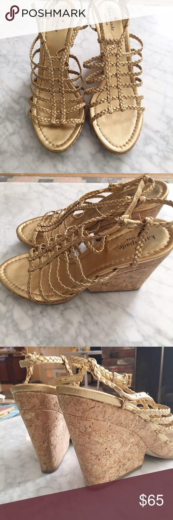 Kate Spade gold wedge shoes Sz 9.5 These are flirty and fun Kate Spade gold wedge shoes! They are Women's size 9.5 and have a beautiful gold straps along with a tan cork heel. Super comfy and look great with everything from jeans to dresses! They've been worn several times, but you can really only see any signs of wear on the soles. Please see the pictures and ask ash questions! kate spade Shoes Wedges