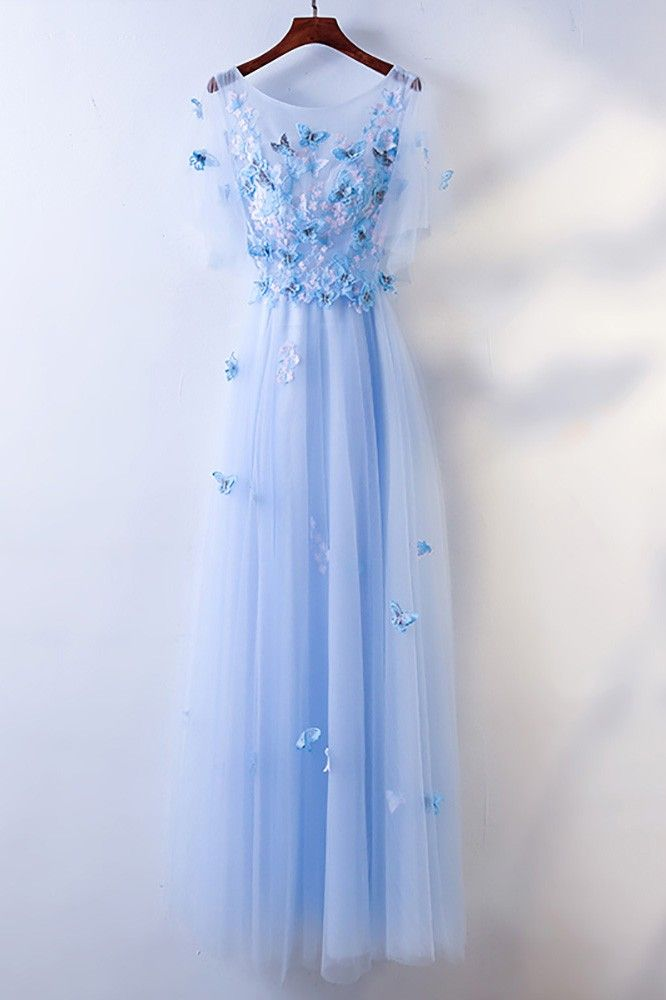 2019 Prom Ball Gown Dresses Long Blue Evening Dresses Floral Tulle Dress Women Formal Party Gown Fashionable Bride Gown Corset Back KS-32-1