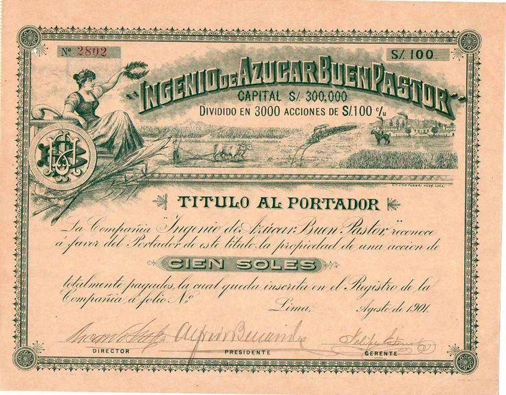 1901 accion del ingenio de azucar buen pastor por 100 soles