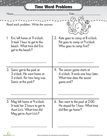 Worksheet Math Clock Word Problems For First Grade Worksheets 10 best telling time images on pinterest worksheets word problems with ollie octopus