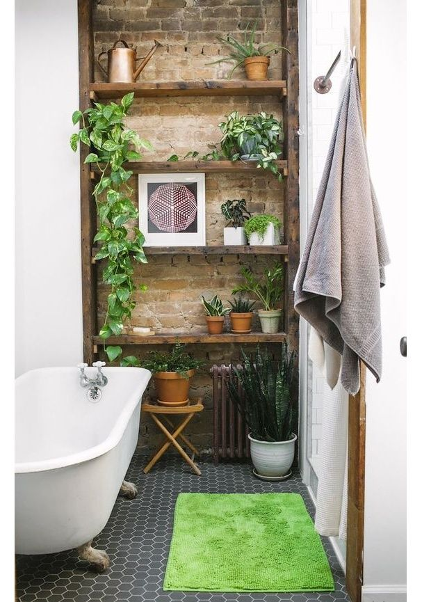 Une salle de bain green