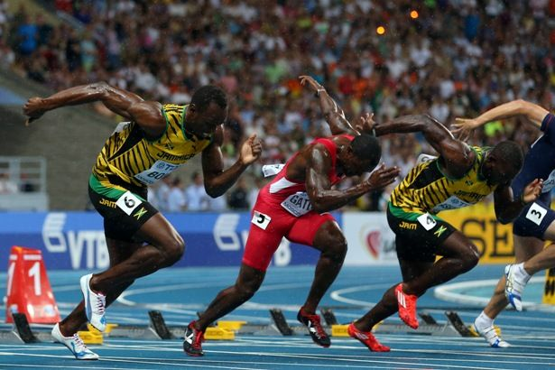 (L-R) Jamaica's Usain Bolt, United States' Justin Gatlin and Jamaica's Nickel Ashmeade compete in the Men's 100 me Final. IAAF Champtionships in Moscow
