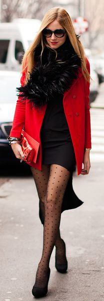 Red/Black.: Polka Dot Tights, Red And Black Outfit, Winter Tights, Street Style, Red Red, Red Tights, Polka Dots Tights, Red Coats, Red Black