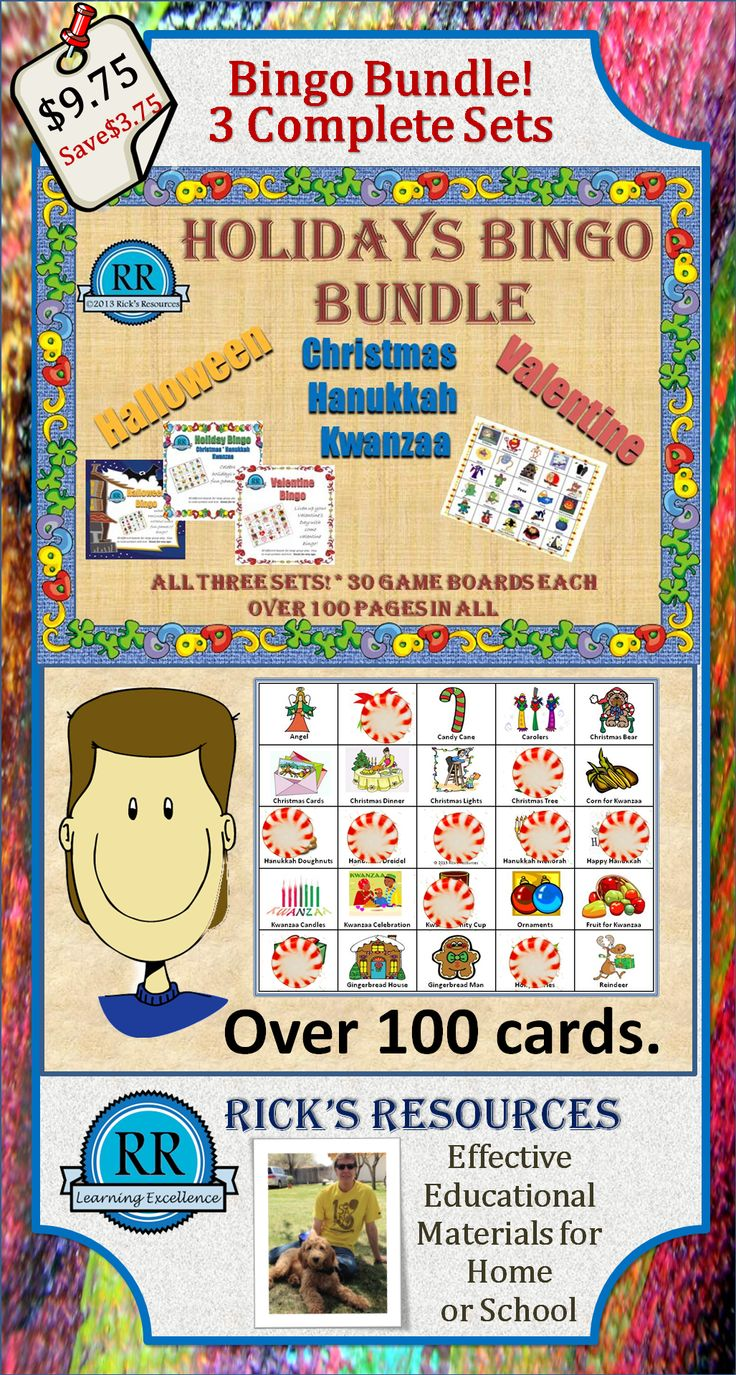 What's a holiday without some bingo!  This is a bundle of the three ultimate bingo sets - Halloween, Christmas (with Kwanzaa, Hanukkah), and Valentines Day.  Each colorful set  comes with 30 play boards and large calling cards   Provides years of fun play - perfect for classroom use. Save $3.75 over purchasing the sets individually.