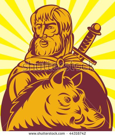 vector illustration of Frey the  Norse god of agriculture with sword and boar #Frey #retro #illustration