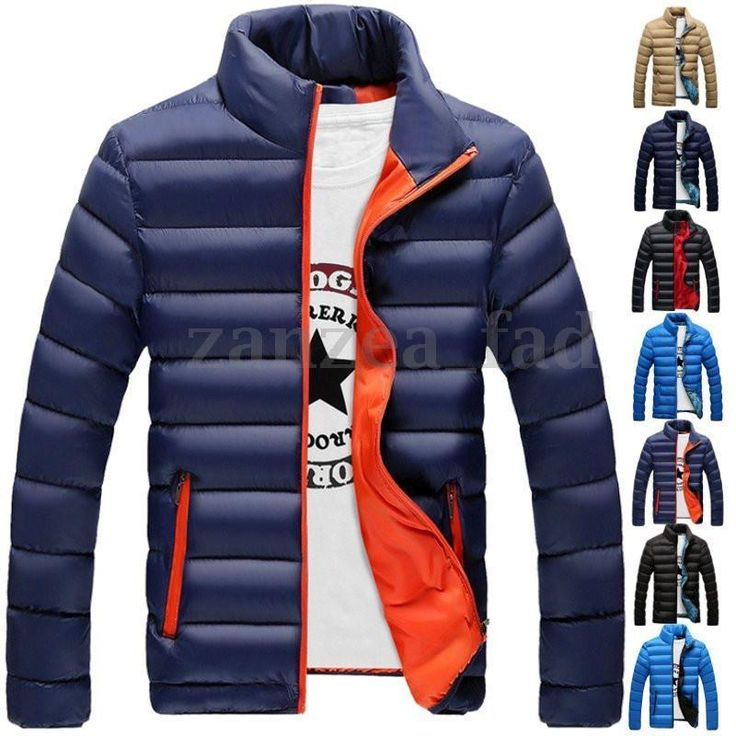 Men's Padded Coat Winter Warm Stand Collar Quilted Puffer Down Jacket Zip Slim