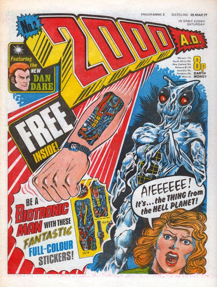 2000 ad issue 1 // Remember my mum getting me this when I was 8 thinking they were bionic stickers from the TV show but they really weren't were they!