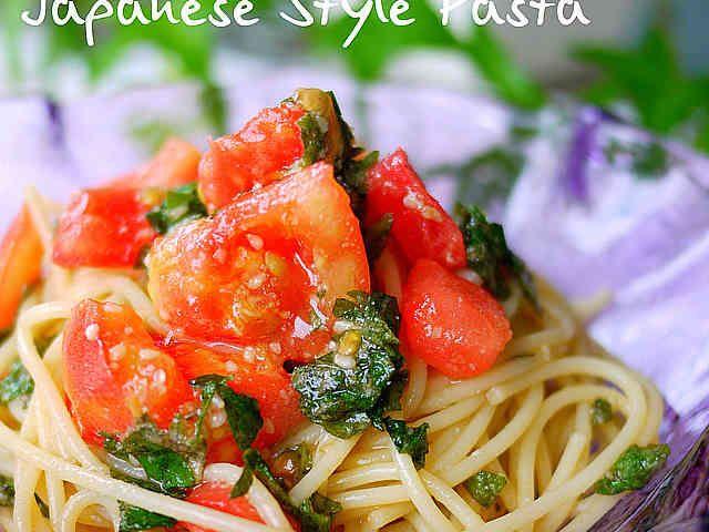 超シンプル!トマトと大葉で和風冷製パスタの画像