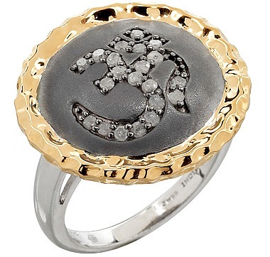 NEW! A bold piece from Tracey Bregman that has both Sterling Silver & 18K Gold. It's called the OM Diamond Ring.