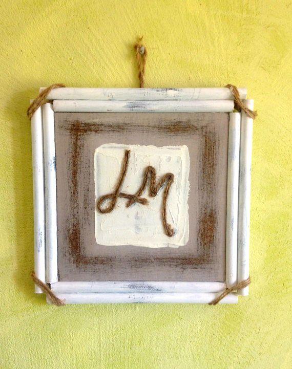 Piccolo quadro moderno con  iniziali o lettere . Dipinto originale con monogramma  . Idea regalo