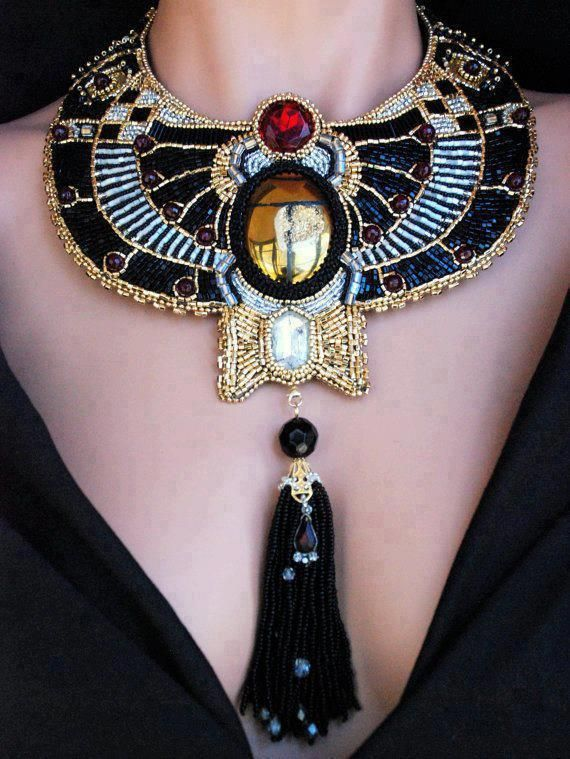 "Egyptian Inspired Necklace /  ""Metropolis - Bead Embroidered Golden Scarab"""