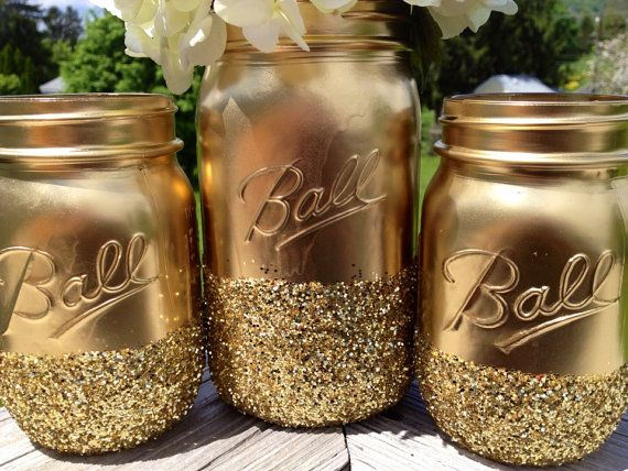 3 Shining shimmering gold Painted distressed mason jars vase vintage centerpiece wedding decor ball kerr rustic wedding Glitter sparkling