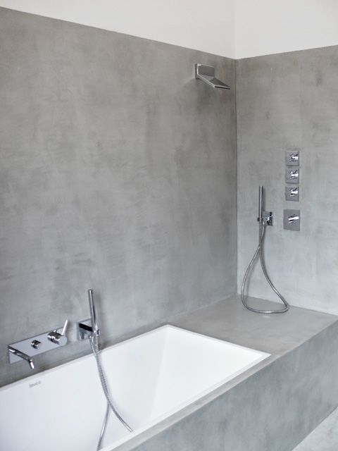 love grey bathroom: #concrete #microtopping surface http://www.idealwork.com/Micro-Topping-Features-and-benefits.html