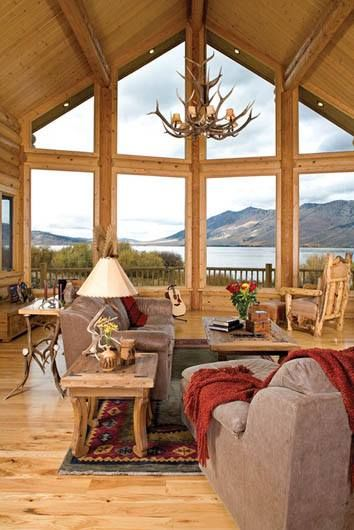Cabin ~ Living by the lake/mountains.. oooomg the windows.. lose the antlers.. keep the windows. LOVE!