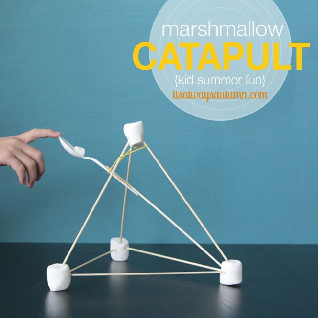 so much fun! make catapults out of marshmallows and skewers, then use them to launch cheerios and mini marshmallows across the room! tons of fun and great for teaching science principles.